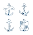 anchor with rope and chain set vector image