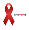 banner with aids awareness red ribbon aids day vector image