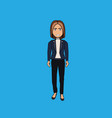 cartoon business woman standing isolated on blue vector image
