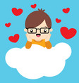 cute little boy with glasses on cloud valentine vector image