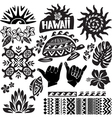Hawaii Set in black and white vector image