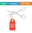 Scissors cut old price tag icon vector image