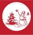 Sketch Christmas symbol snowman with tree vector image