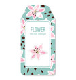 tag with pink lilies flower pattern vector image
