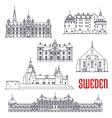 Historic buildings and sightseeings of Sweden vector image