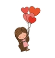 girl dragged by heart-shaped balloons vector image