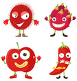 Set of red fruits and vegetables vector image vector image
