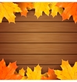 Autumn maples leaves on a wooden background vector image
