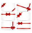 Gift Card Set with Red Ribbon and Bow vector image vector image