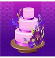 Wedding cake with purple iris flower design vector image
