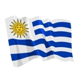 political waving flag of uruguay vector image