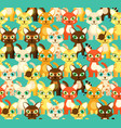 bright seamless pattern with cartoon cats vector image