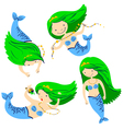 cute mermaids vector image