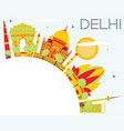 delhi skyline with color buildings blue sky and vector image