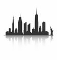 new york city skyline silhouette skyscrapers and vector image