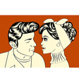 pop art cute retro couple in comics style vector image