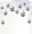 Christmas Silver Glassy Balls on Magic Light vector image