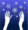 Hands and snow vector image