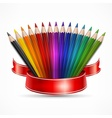 Pencil fan with ribbon on vector image vector image