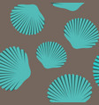 seamless pattern of blue seashells vector image
