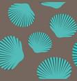 Seamless pattern of blue seashells vector image