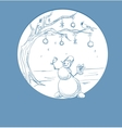 Sketch Christmas symbol snowman with tree vector image vector image