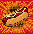 hot dog in comic style design element for poster vector image