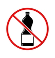 Plastic bottle not allowed sign vector image