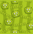 seamless pattern with square smiley cactus vector image