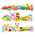 Set of funny children toys on white background vector image