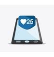 bubble smartphone heart social media icon vector image