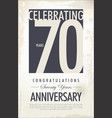 70 years anniversary retro background vector image