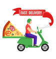 fast delivery man and pizza on