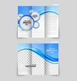 Blue tri-fold brochure vector image vector image