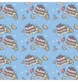 Seamless pattern depicting fruit and blueberry pie vector image