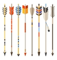 Ethnic set of indian arrows in native style vector image