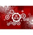 Red grunge hi-tech background vector image