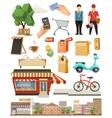 Shop low poly icon set vector image