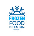 Frozen food premium product label for freezing vector image