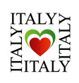 I love italy with italian flag colors vector image