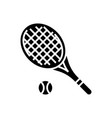tennis racket icon black vector image