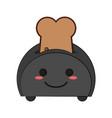 toaster with bread cute kawaii cartoon vector image