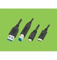 usb cable various plug type style vector image