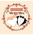 wedding card with flower and suit and bridal gown vector image