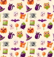 Halloween Seamless Pattern with Colorful Flat vector image