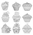 9 cupcakes vector image