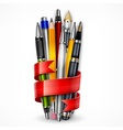 Pencils and pens with ribbon vector image vector image