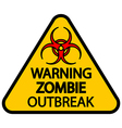 Road sign warning zombie outbreak vector image