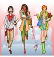 Happy girls walking down the street vector image