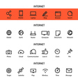Different line style icons set Internet vector image